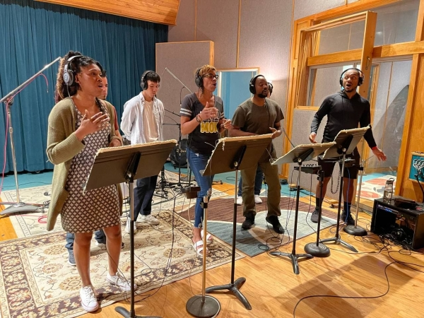 Gospel singers recorded at the music studio.